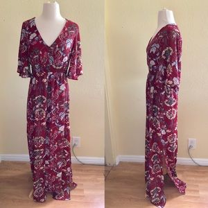 Boho maxi floral red dress with slit long sleeves